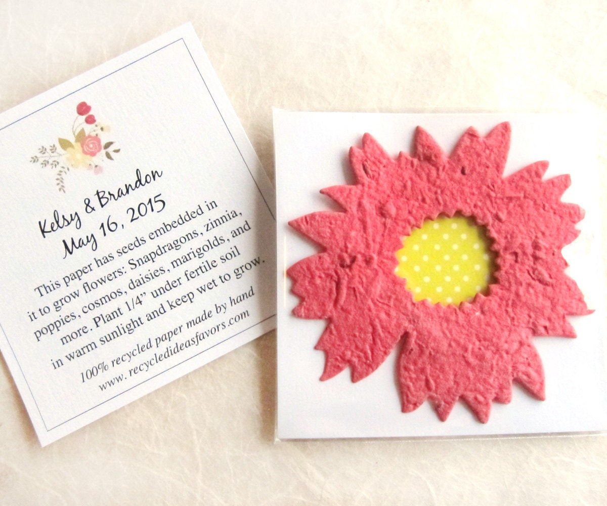 20 Daisy Plantable Seed Paper Wedding Favors Flower Seed