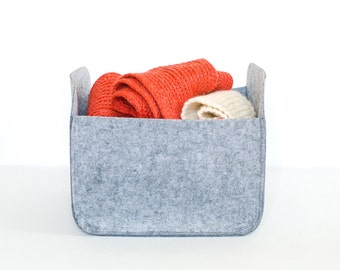 Modern Storage Basket / Felt Storage Bin  / Felt Basket / Gray Storage / Household Storage / Felt box