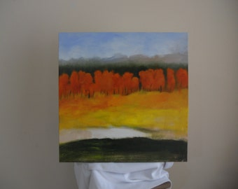 """Original Art Autumn Painting Abstract Landscape Fall Colors 20"""" x 20"""" """"Turningl"""""""