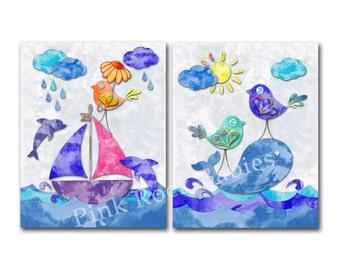 Watercolor nautical nursery ocean wall decor kids room wall art baby boy room artwork playroom decoration sea life poster wale dolphins