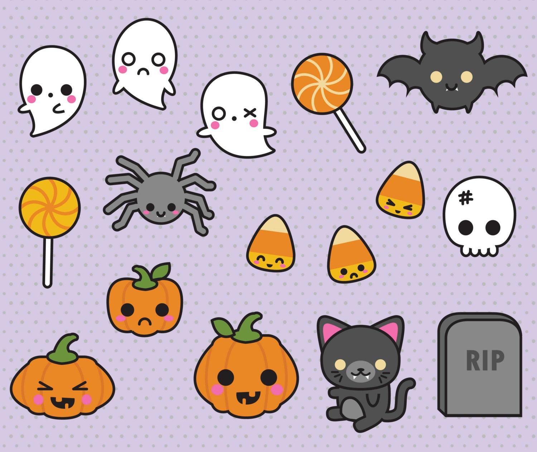 Cute Halloween Decorations Pinterest: Premium Vector Clipart Kawaii Halloween Clipart Spooky