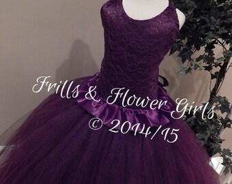 plum flower girl dress – Etsy