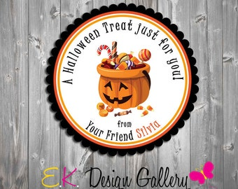 Halloween Personalized School Treat Favors Party Gift Tags Stickers Labels Digital DIY IV