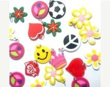 ON SALE 100+pcs kawaii silicon pendants, rubber bangles pendants, bracelets charm , jewelry charm girls gift idea