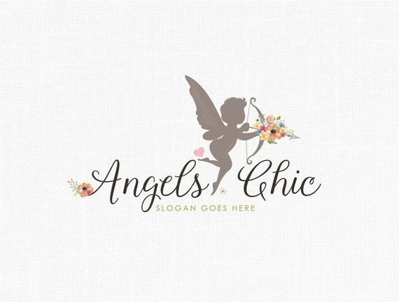 Items similar to premade angel logo design floral logo Angel logo design