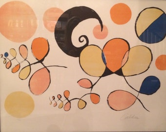 "Signed and Numbered Lithograph --1969 Alexander Calder ""Boules et Spirales de Couleurs"""