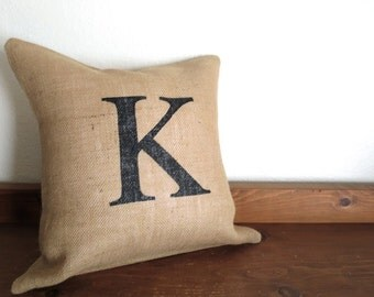 Custom Monogram Pillow, 20 x 20, Burlap Pillow Cover, Wedding Gift, Engagement Gift, Chic Home Decor, Wedding Decorations