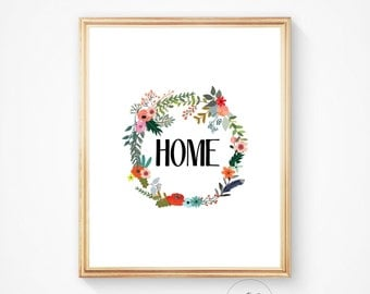 Home decor, home art, entry way print, digital home art, printable home art, digital print, colourful art, floral art, home picture, Home