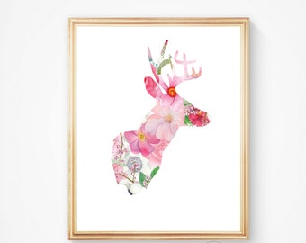 Deer print, deer art, deer wall art, deer head print, deer antler, moose print, printable wall art, art deer print, deer head,