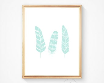 Feather print, Feather wall print feather art print Mint feather Printable wall art, art prints, feather art, digital print, wall art prints