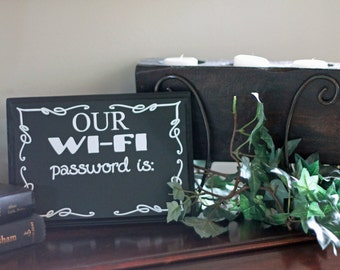 WiFi Password - Chalkboard Wooden Sign