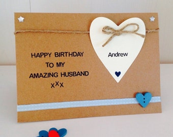 Personalised Amazing Husband, Boyfriend, Fiance Handmade Birthday Card - Husband Birthday Card, Fiance Birthday Card, Boyfriend Birthday Car