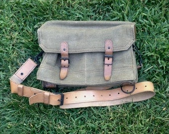 French Military Canvas and Leather Shoulder Bag