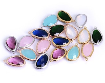 Bulk 18 pc 6 colors Mixed Teardrop Facted Glass Bezel Gemstone Pendant - Polished 24K Gold Plated over Brass - 13x22mm