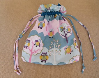 Cute little owls Drawstring bag with blue and pink; children's bag, Cotton, Australian handmade