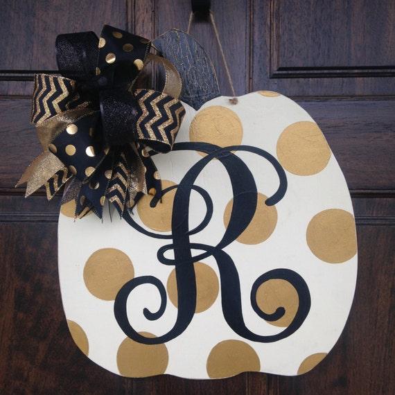 Gold polka dot pumpkin door hanger