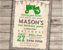 Green Tractor Birthday Printable Invitations Rustic Wood Farm Burlap Barn Tractor Country Theme Party boy First Birthday Red Tractor NV2002