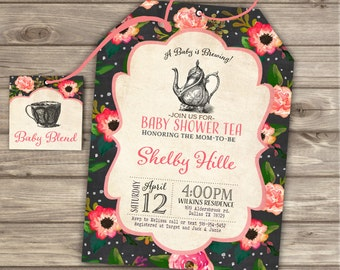 A Baby is Brewing Baby Shower Shower Invitation Theme Party Rustic Tea Bag Invitations Printable Invitations Coral Black Tea Tags NV803