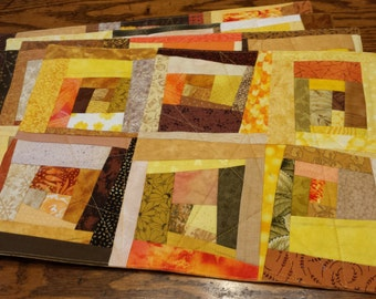 Set of Four Golden Yellow Fabric Placements, Pieced and Quilted