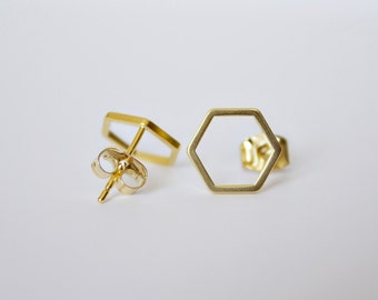 Hexagon Stud Earrings - gold, silver, rose gold