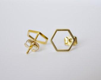 Hexagon Stud Earrings - gold, silver, rose gold
