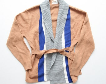 Adorable Vintage 60's 70's Women's Colorblock Vertical Stripe Shawl Collar Belted Wrap Cardigan By Barclay Size S