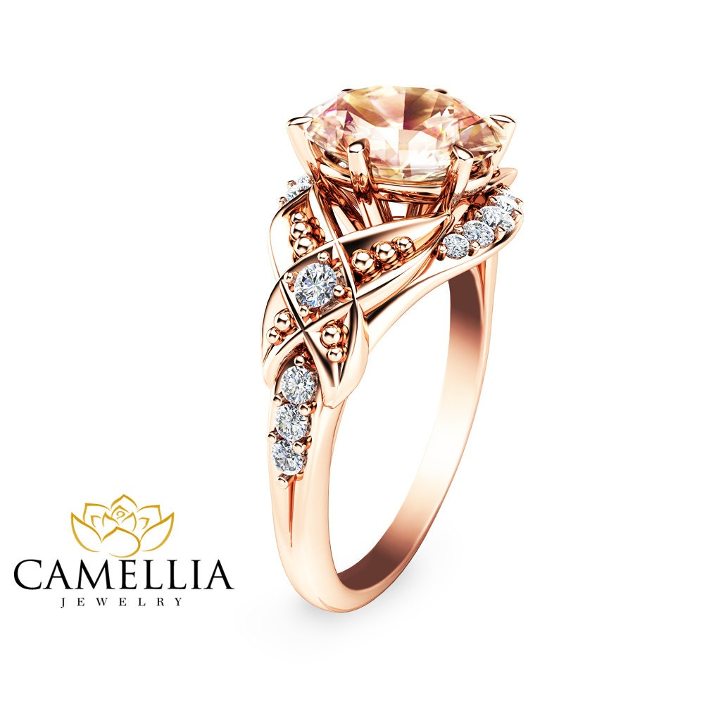 14K Rose Gold Engagement Ring Oval Morganite by CamelliaJewelry