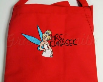 """Tinkerbell Wedding customized the New Mrs. Apron 24""""L x 28""""W professional 3 pocket full bib. Makes for a great and fun Christmas gift!"""