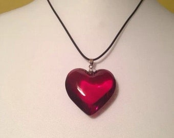 Chunky Red Lampwork Heart Necklace