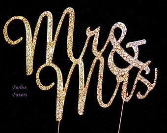Real Rhinestone GOLD Mr & Mrs Cake Topper Wedding Cake Topper