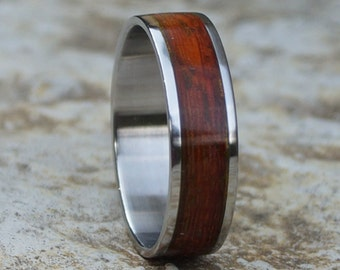 Stainless steel ring padouk wood inlay
