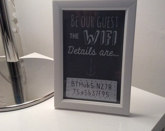 Be my guest The wifi password is.... Problem solver frame great for lounge, kitchens and guest rooms