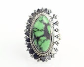 Green Turquoise Ring Sz 5.75 Native American Sterling Silver boho ring Sterling Navajo Ring Zuni Southwest Indian Silver Ring Jewelry