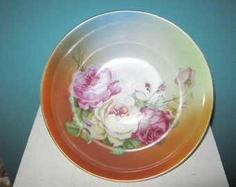 Rose Serving Bowl, Made In Germany, Pink And White Roses On A Turquoise And Peach Background, 9 Inch Vintage Bowl