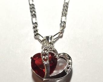 Red Rhinestone CZ  Heart Pendant Necklace ON SALE