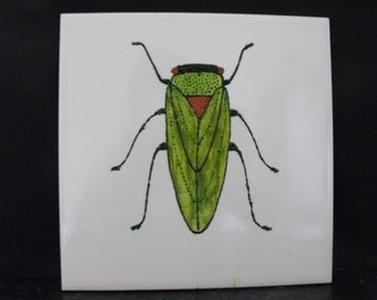 Ceramic Tile Painting, Original. Hopper. Green Copper and black bug beetle creepie crawley insect plaque