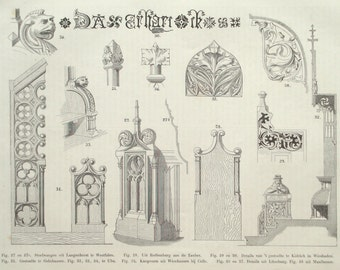 Furniture design original 1875 ornaments print - Wall decor, victorian woodcarving - 140 years old antique book plate illustration (A844)