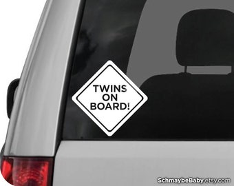 Twins On Board White Vinyl Car Decal
