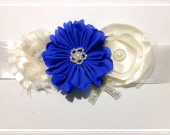 Blue and white bling sash