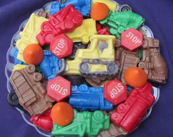 Construction trucks chocolates candy tray