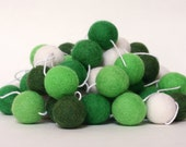 Felt Ball Garland, St. Patrick's Day Garland, Pom Pom Garland, Banner, Party Decor, Green and White