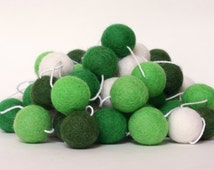 Felt Ball Garland, St. Patrick's Day Garland, Pom Pom Garland, Banner, Party Decor, Green and White