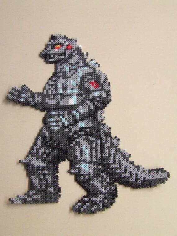 items similar to mecha godzilla pixel bead art huge