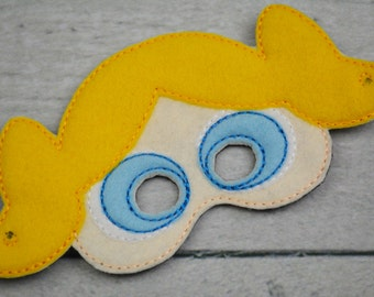 Blue Superhero Sister Children's Felt Mask  - Costume - Theater - Dress Up - Halloween - Face Mask - Pretend Play - Party Favor