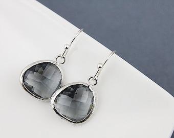 Silver Framed Charcoal Glass Stone Dangle Earrings. Bridesmaid Earrings, Bridesmaid Gift . Dainty Earrings, Simple and Modern Earrings .