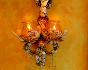 Pair of Sea Shell encrusted Wrought Iron Sconces with Glass Chrystal Drops