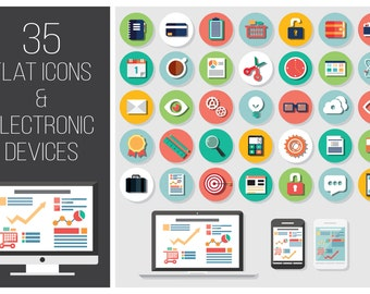 35 Flat Icons and 4 Electronic Devices