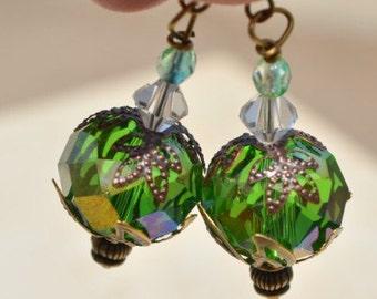 Victorian style earrings, Olive Green Crystal drop earrings