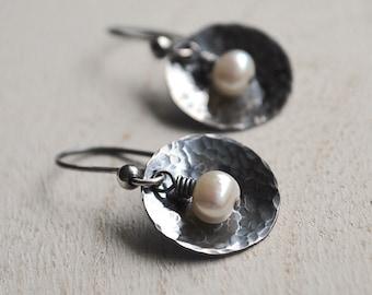 Hammered Silver Pearl Earrings, Oxidized Hammered Silver Freshwater Pearl Earrings, Round Sterling Silver Pearl Earrings
