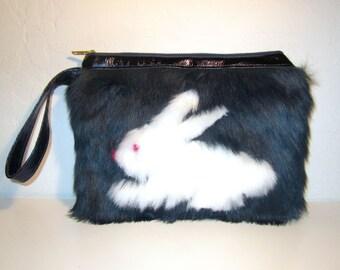Bunny Faux Fur Wristlet Clutch - Navy Blue with Metallic Leather Trims - Handmade Handbag
